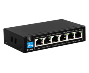 6-Port PoE Switch with 4 Long Reach 250m PoE Ports and 2 Uplink Ports DES-F1006P-E