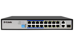 18-Port PoE Switch with 16 Long Reach 250m PoE Ports and 2 Gigabit Uplink Ports DES-F1018P-E